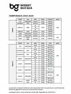 Horaris d'Entrenament 2019-2020